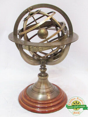 Nautical Antique Brass Armillary With Wooden Base Vintage World Sphere Globe