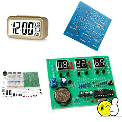 DIY Kit PCB Board 9V-12V AT89C2051 LED Digital Electronic Clock Set Components