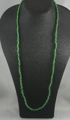Lovely Long Opera Length Vintage Emerald Green Handmade Tribal Beads Necklace
