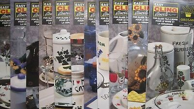 DecoArt Easy Cling Stencils Choice of 11 Styles Glass, Tile Freepost