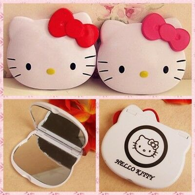 1x Hello Kitty Pink Bow Double-sided Makeup Portable Pocket Comestic Red Mirror