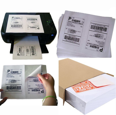 1000 Half Sheet Mailing Address Internet Shipping Labels + 48 Fragile Stickers