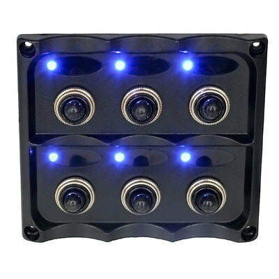 6 Gang 12V Switch Panel Splashproof Toggle LED Back Indicator Blue Light AU