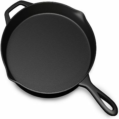 """15"""" Preseasoned Cast Iron Skillet Large Cooking Pan Nonstick Surface Cookware"""