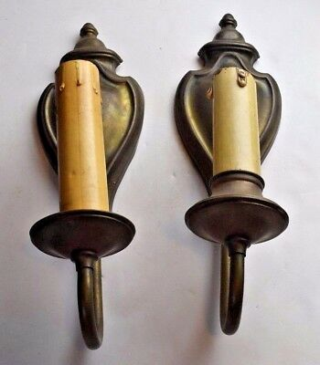 vintage antique pressed brass single candle sconce pair