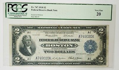 1918 $2 U.S. Federal Reserve Bank Note Graded PCGS Very Fine 20 Battleship Note