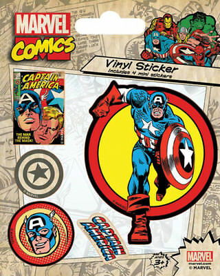 Marvel Comics Captain America Retro Stickerset Sticker Aufkleber 10x12,5cm