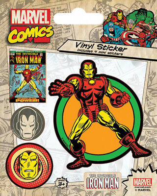 Marvel Comics Iron Man Retro Stickerset Sticker Aufkleber 10x12,5cm