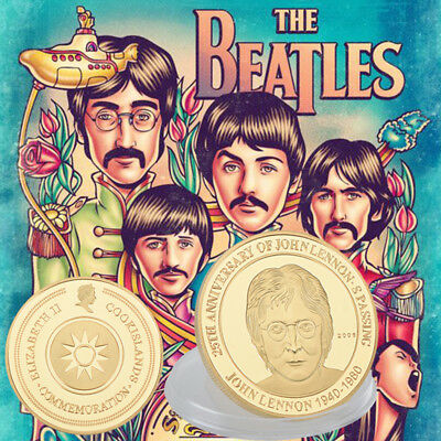 WR GOLD Plated Coin The Beatles John Lennon 25th Anniversary Memorabilia Gifts