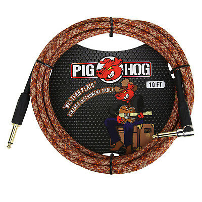 """Pig Hog """"Western Plaid"""" Instrument Guitar Cable, 10ft. Right Angle"""