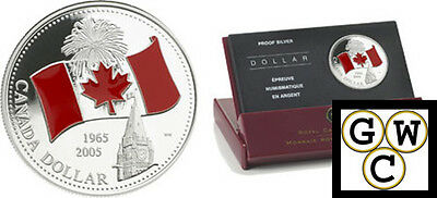 2005 Colorized Enameled 'Canada Flag' Proof Silver $ .9999 Fine (NT) (11750)