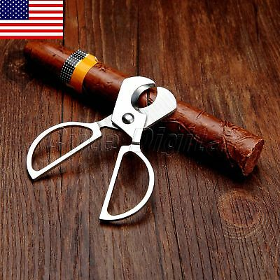Portable Stainless Steel Double Blades Cigar Cutter Knife Scissors Type US STOCK