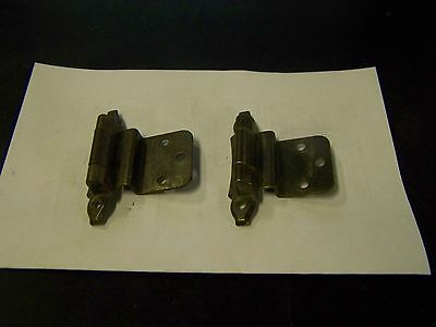 "2 Vintage Bronze- Antique Brass Cabinet Door Hinges 3/8"" Off-Set-Patina NL Co."
