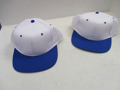One Pair New Vintage-White Caps/hats W/royal Blue Bill,/eyelets/button-Niss[A229