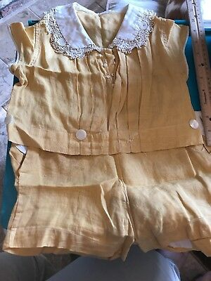 VERY RARE antique, turn of the century, early 1900's toddler Yellow outfit