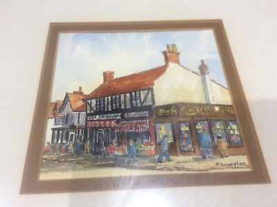 Signed Original Watercolour Painting High St Rayleigh Spread Eagle Pub & Shops
