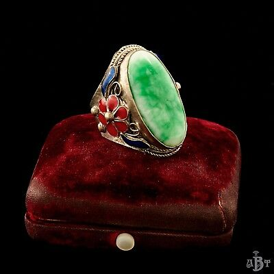 Antique Vintage Deco Sterling Silver Chinese Imperial Jade Jadeite Mens Ring