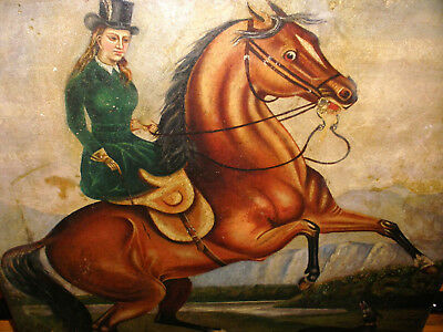 Antique 18/19Thc English School Woman On The Horse With Dog Oil Painting