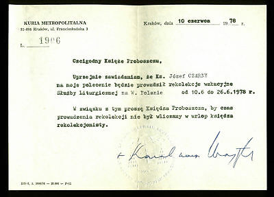 Pope John Paul II Authentic Signed 6x8.25 Letter Dated June 10, 1978 BAS #A02047