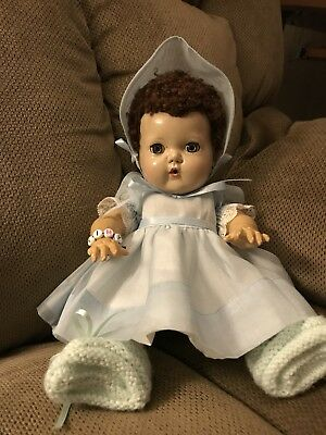 """Tiny Tears-11"""" Rubber Body, Outfit,Socks,Booties-Open/Close Eyes-Caracul  Hair"""