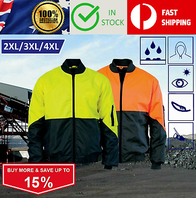 2XL - 4XL Hi Vis Flying Bomber Pilot Waterproof Rain Raincoat Safety Jacket Coat