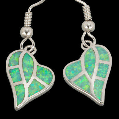 Heart Shape Kiwi Green Fire Opal Inlay Silver Jewelry Dangle Drop Earrings