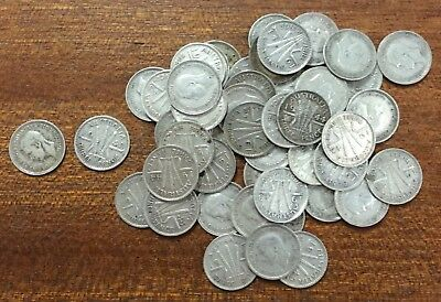 Australia pre 46 three pence bulk lot of 50 - mixed condition .