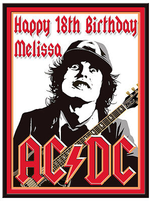 AC DC Edible Cake Image Icing Personalised Birthday Decoration Party Topper