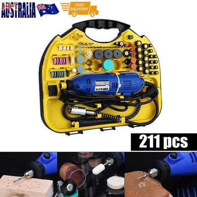211pcs Dremel Rotary Tool Set Mini Drill Grinder Engraver Sander Polisher Kit