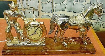 United Clock Co.1940's Cast Metal Cowboy/horse Clock With Twirling Lasso