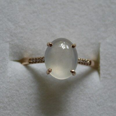 Size 5 3/4 * Certified Natural (A) Icy White Jadeite JADE Diamond 18K Ring #R171