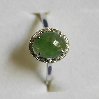 Size 6 Certified Natural (Grade A) Icy Green Jadeite JADE Diamond 18K Ring #R167