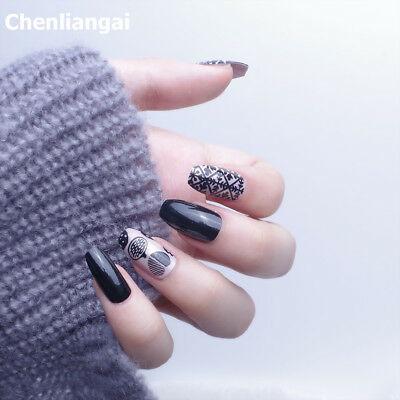 Different Style 24Pcs False Nail Tips Decorated Multicolor Full Nail Tips Design