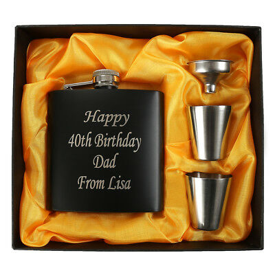 Personalized 6oz Hip Flask Engraved Whisky Holder Drink Cups Funnel Gift Box