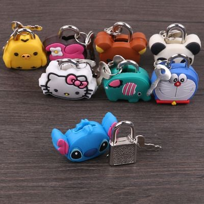 Small Mini Strong Steel Padlock Travel Tiny Suitcase Lock Cute Case with 2 Keys