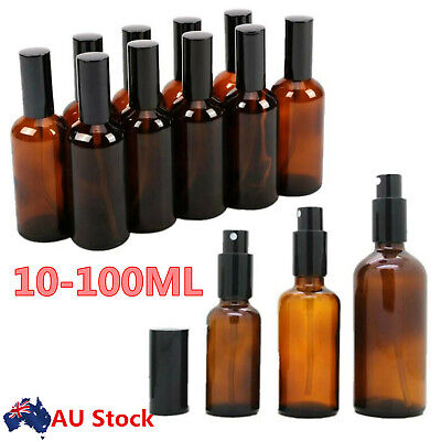 10/30/100ML Amber Glass Spray Bottle for Essential Oil Perfume AtomizerContainer