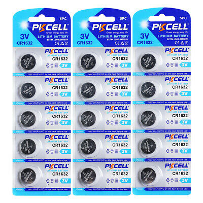 15PCS x CR1632 ECR1632 KCR1532 3V Lithium Coin Batteries Button Coin Battery