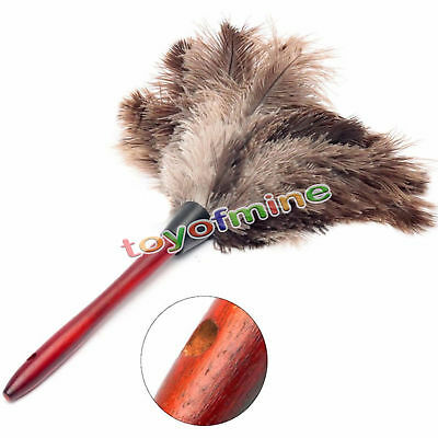 Anti-static Ostrich Feather Fur Brush Duster Dust Cleaning Tool Wooden Handle