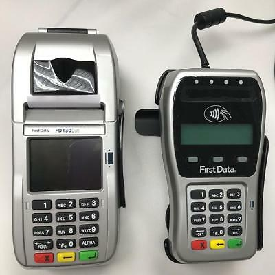 First Data FD-130 Duo Credit Card Terminal and FD-35 PINpad with Wells 350...