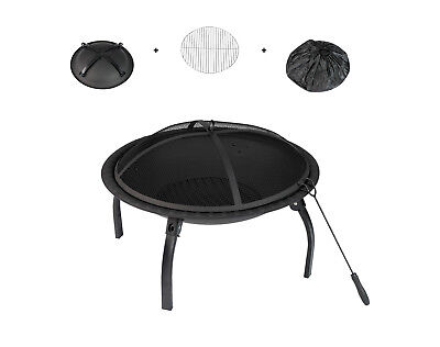 "26"" Patio Fire Pit Bowl Burning Heater Portable Travel Camping BBQ Fire Stove"