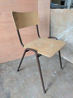 Vintage Industrial Style Stacking Chair Metal Frame School Cafe Bar Dining Seat