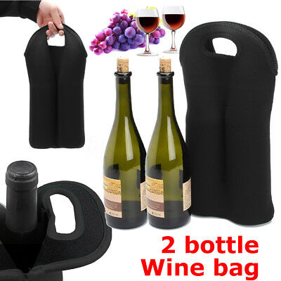 2 Bottle Drink/Wine/Beer Insulated Neoprene Bag Tote Carrier Cooler Gift Case