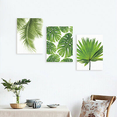3Pcs Unframed Modern Art Canvas Oil Painting Green Leaf Print Wall Decor S