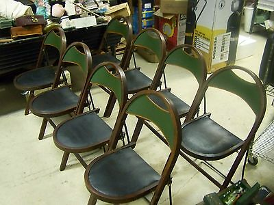Set of 8 Antique Vintage Stakmore Oak Wood & Metal Leather Bottoms Folding Chair
