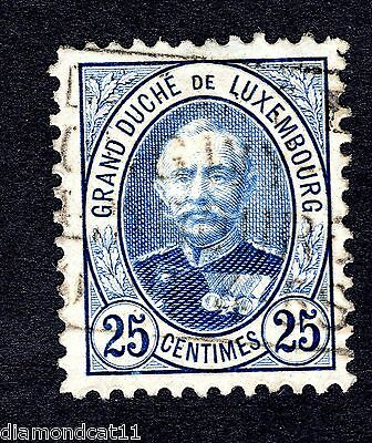 1891 Luxembourg 25c Blue SG 129c FINE USED R24085