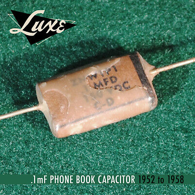 1952-1958 Phone Book: Wax Impregnated Paper & Foil .1mF Cap for Fender Guitars