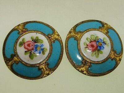Pair Of Victorian French Champleve Enamel Roses Gilt Gold Buttons!