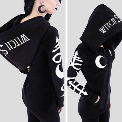 Black Women Witch Punk Sweatshirt Oversized Hoodie Gothic Slim Long Sleeve US
