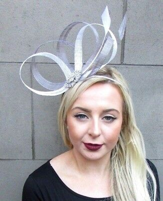 White Grey Silver Sinamay Feather Fascinator Races Alice Hair Band Headband 4826