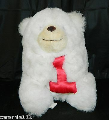 Animal Fair White Bear Baby's 1st Birthday Plush Red 1 Vintage Limited Edition